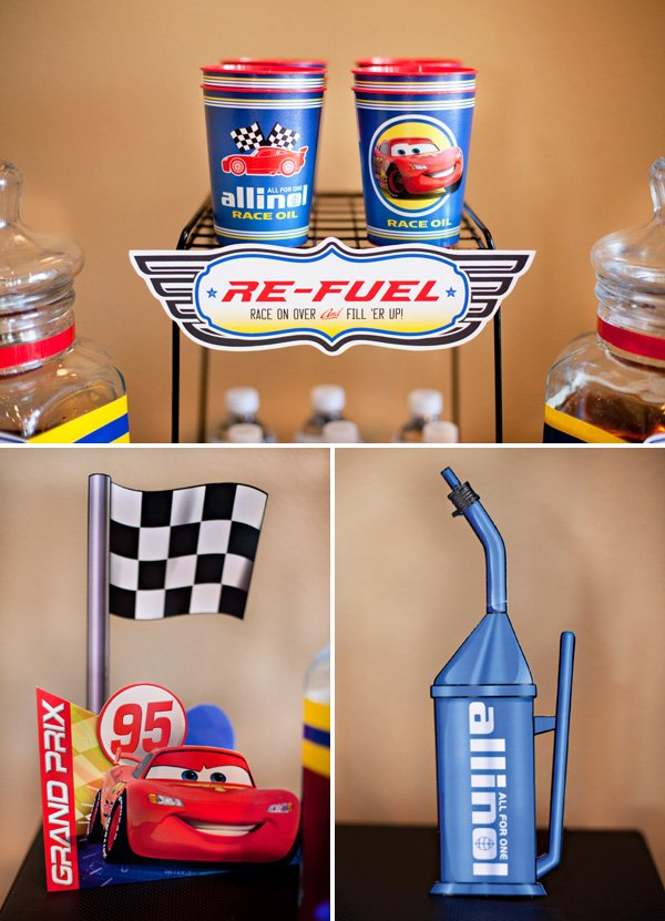 boys cars birthday party drink station ideas