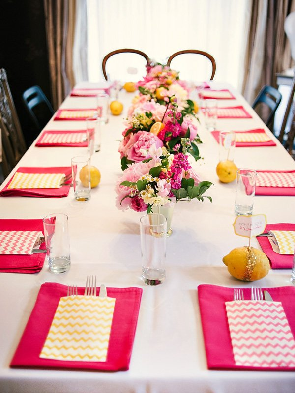pink and yellow bridal shower tablescape