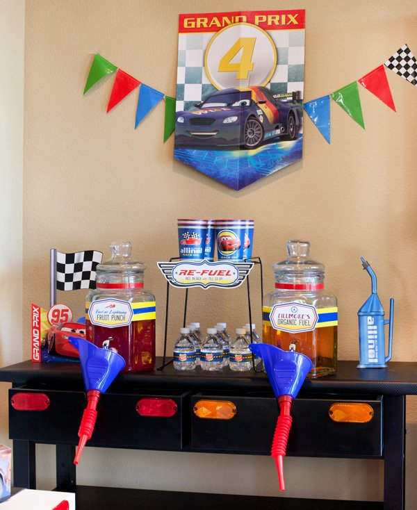 drink station for a cars theme birthday party