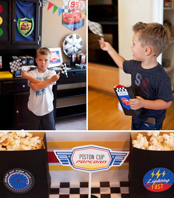 cars party pistons cup popcorn