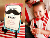 mustache party invitation with a chevron pattern