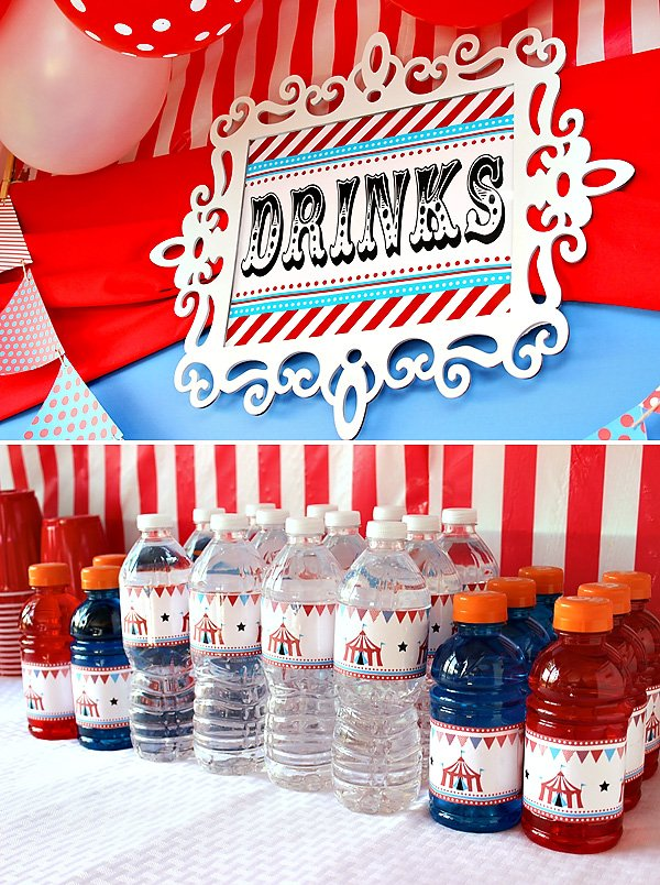circus birthday drinks