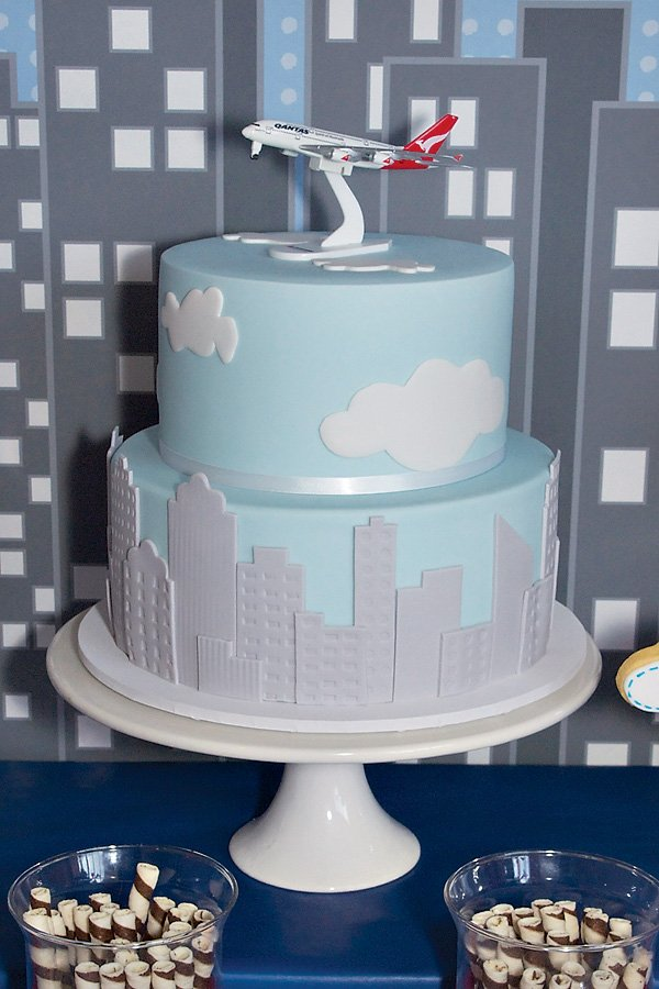 Cityscape and Airplane Birthday Cake