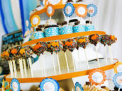 Orange and Blue Cupcake Tower