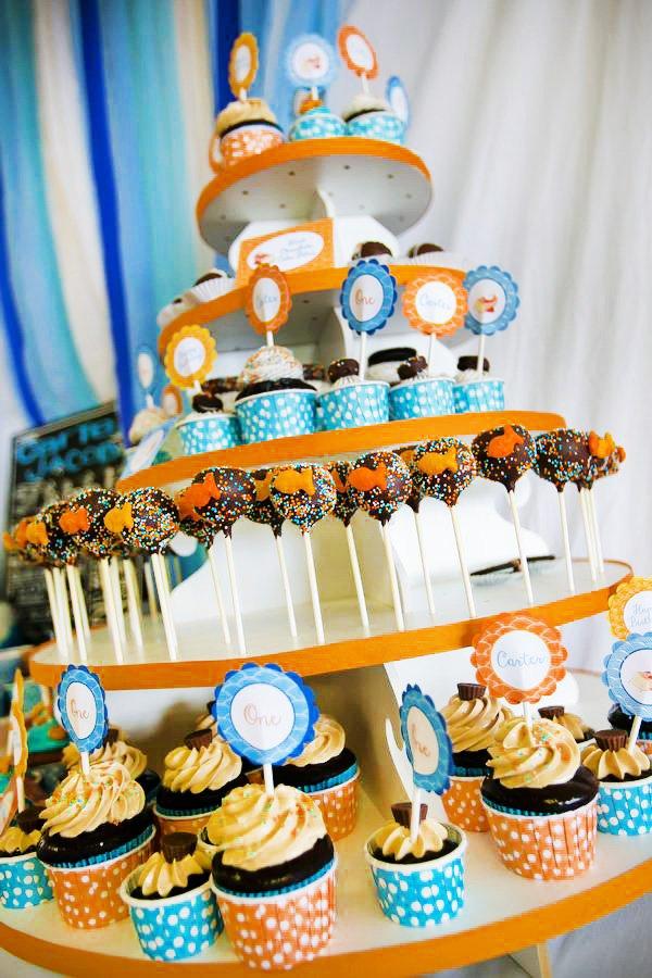 Orange and Blue Cupcake Tower
