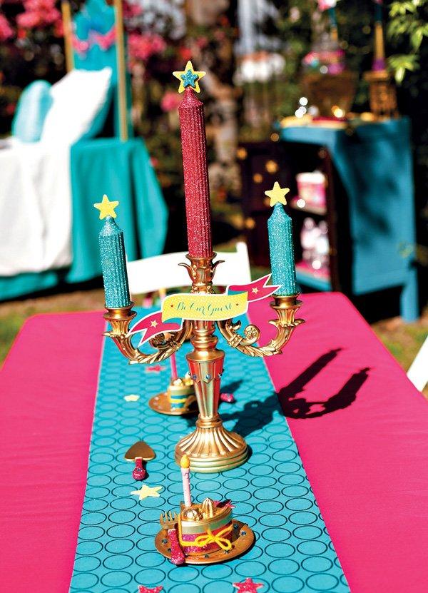 DIY Princess Party Candlestick Centerpiece
