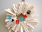 DIY Book Page Welcome Wreath with Nautical Mini Bunting