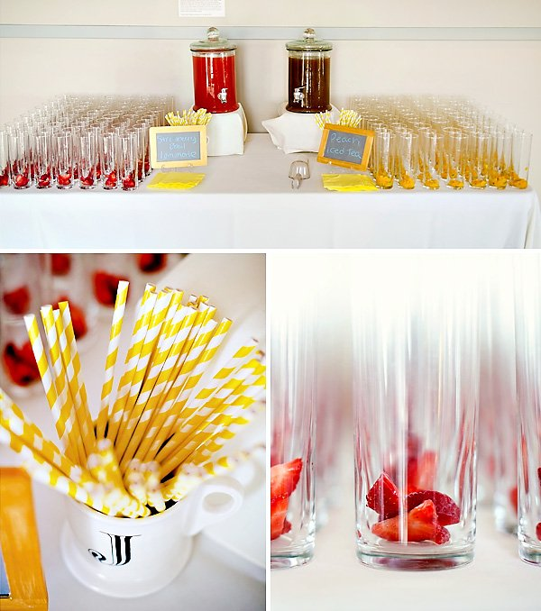 drink station with yellow straws