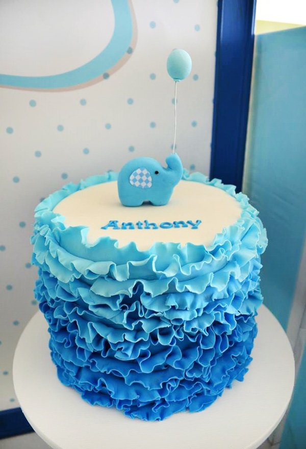 Elephant Ombre Blue Ruffle Cake