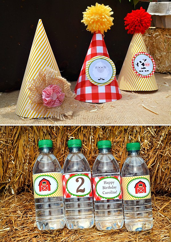 farm inspired party hats