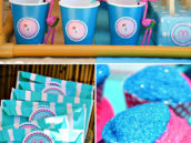 Pink and Blue Flamingo Themed Pool Party