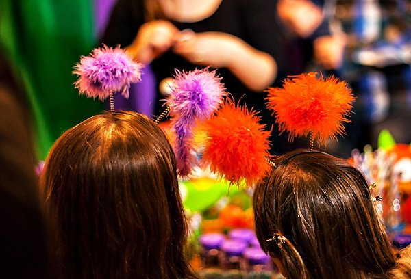 fuzzy headbands for a mosnter birthday party