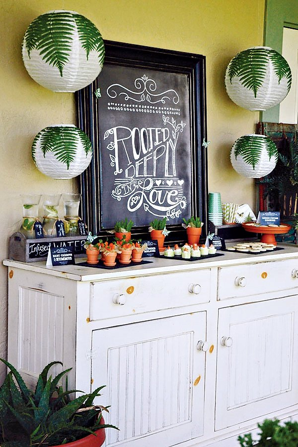 garden inspired dessert table