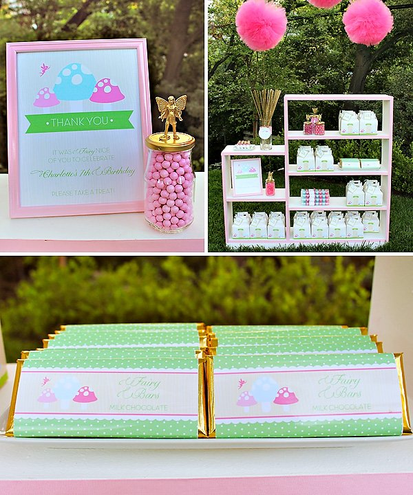 girly woodland party favors