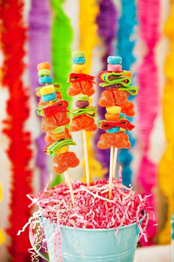 Colorful Gummy Candy Skewers