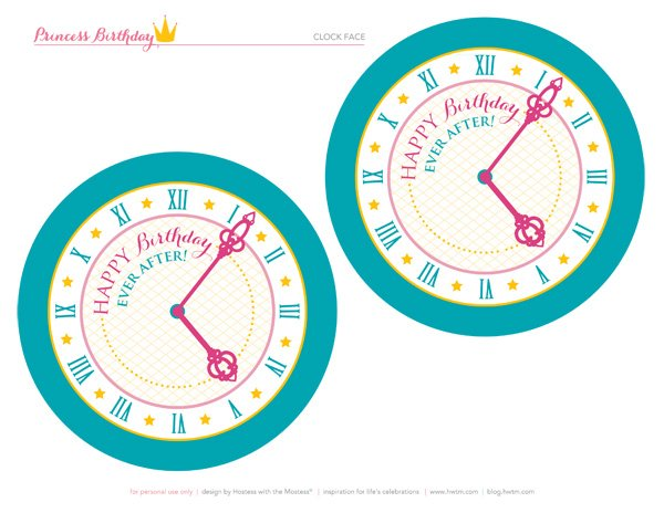 happy birthday ever after clock printable sign