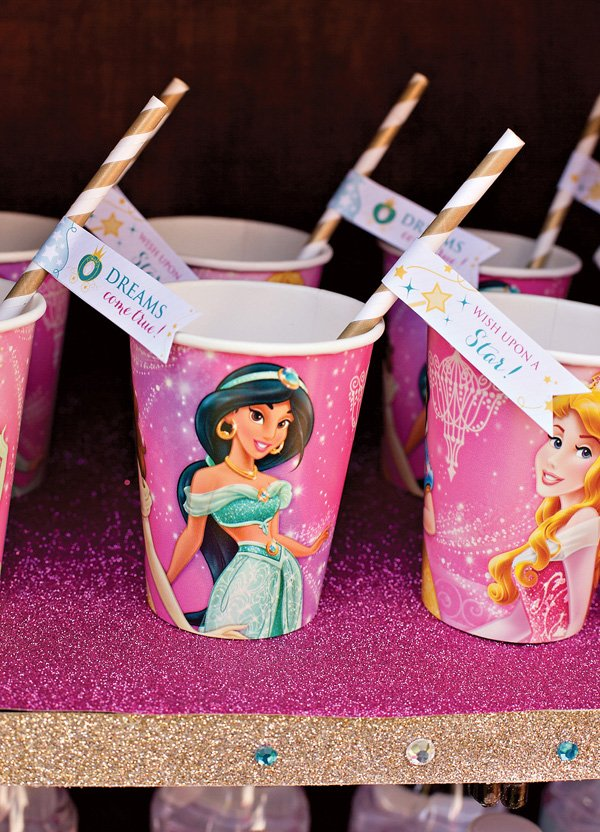 Disney Princess Party with Princess Drink Flags