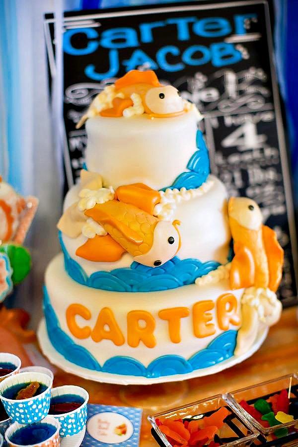 Blue & Orange Koi Fish Birthday Cake