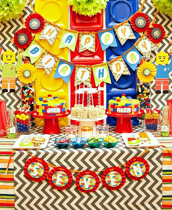 Colorful Lego Themed Party {Twin Boys Birthday} // Hostess with ...