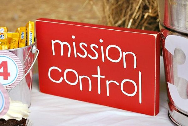 mission control party sign