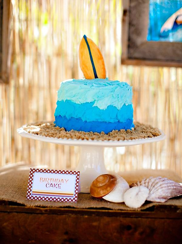 Vintage surf theme party father son joint birthday