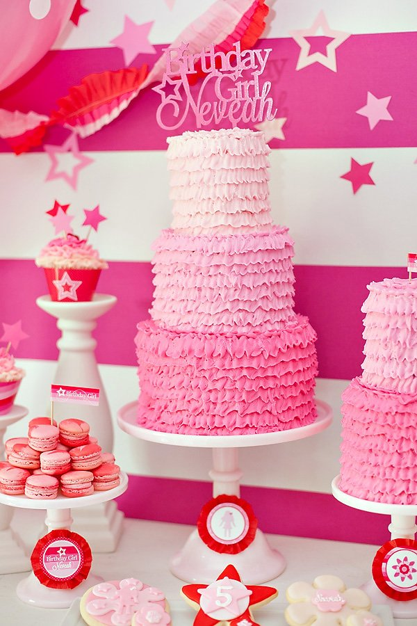 Ombre pink ruffle birthday cake