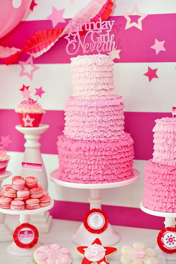 Ombre pink ruffle birthday cake