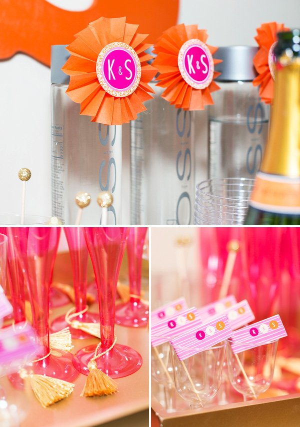 orange and pink bridal shower drink station