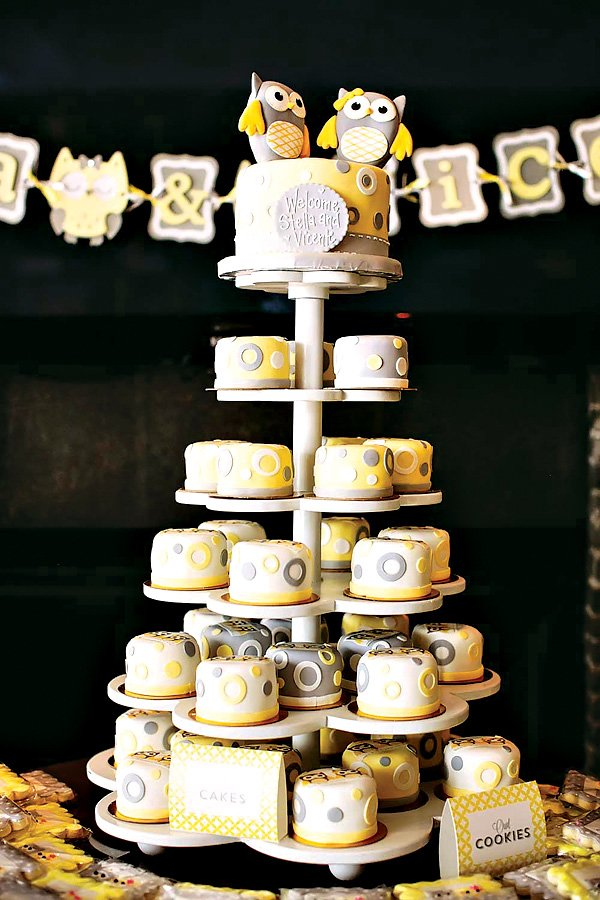 owl cake tower