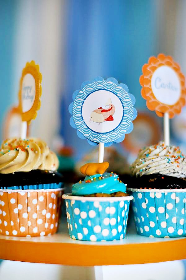 Fish Themed Cupcake Toppers