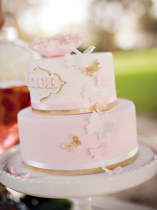 pink butterfly cake for a dainty tea party