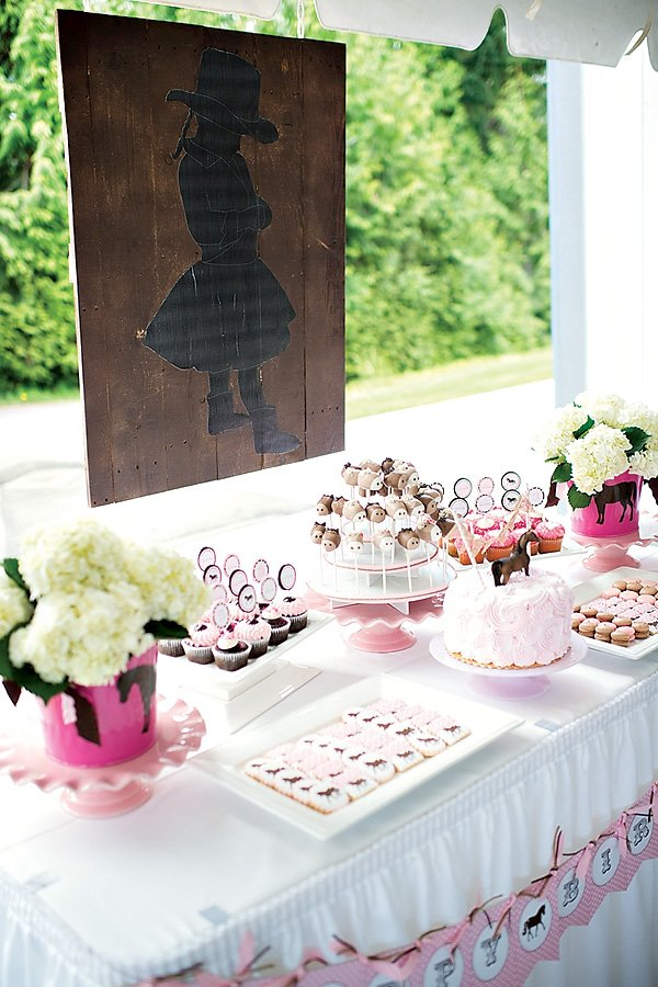 pink cowgirl dessert table