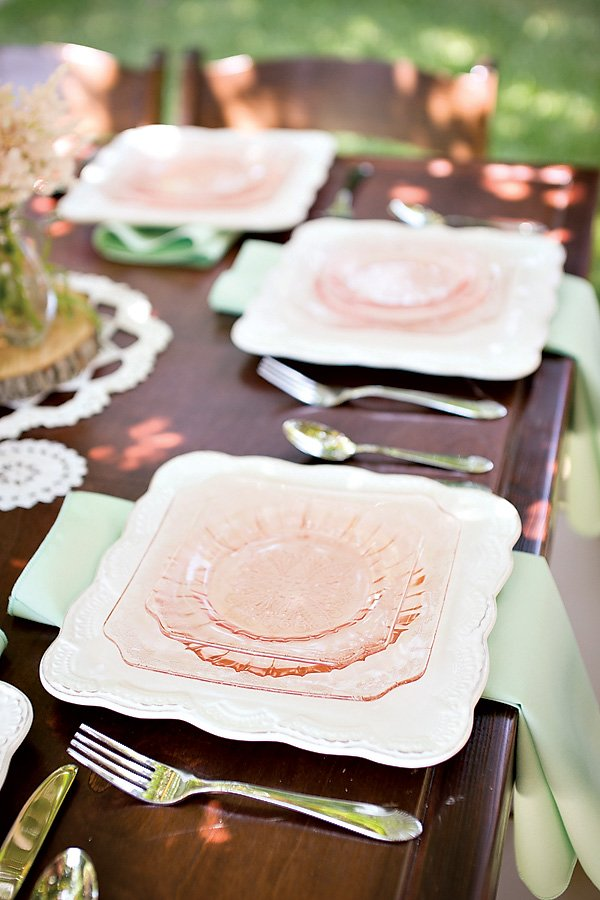 pink dishes for a beautiful baby shower