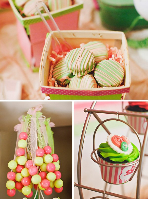 pink and green desserts for a lalaloopsy party