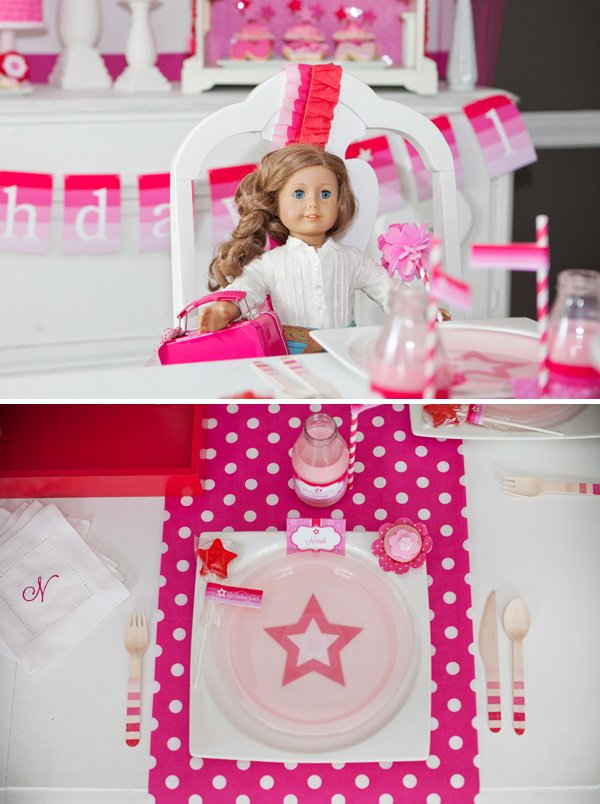 Girly star and polka dot place setting