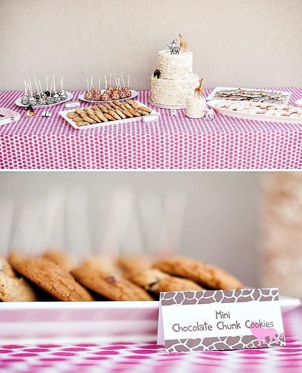 pink safari dessert table