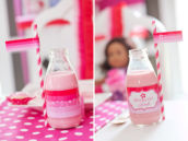 Strawberry milk with ombre pink bottle wrap