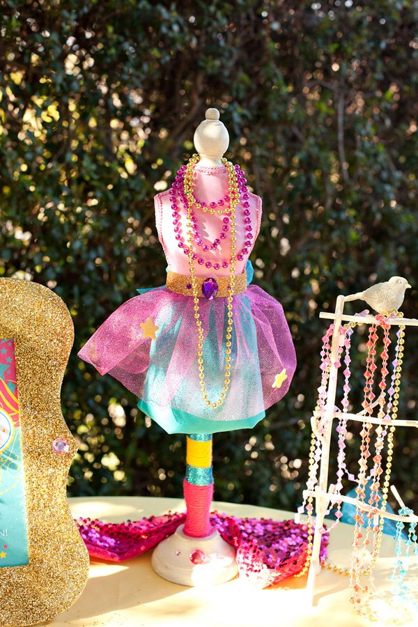 princess party - embellished dress form centerpiece