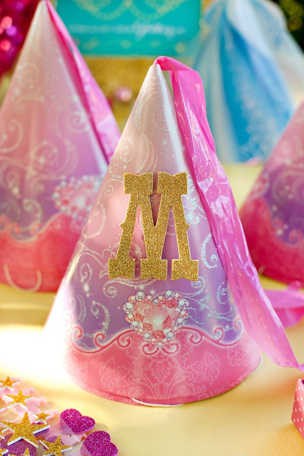 princess party hats with gold glittered letters