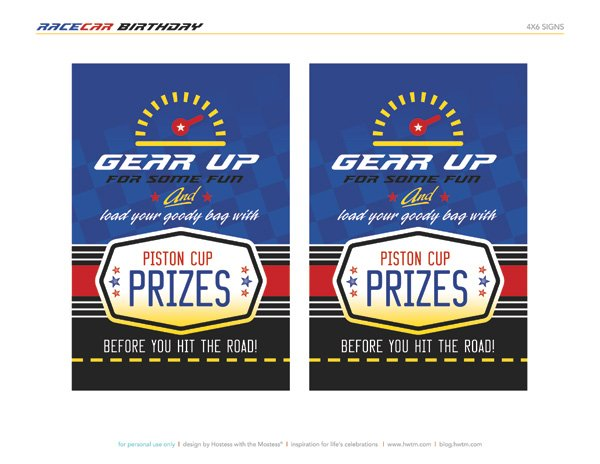 Racecar Themed Free Printables