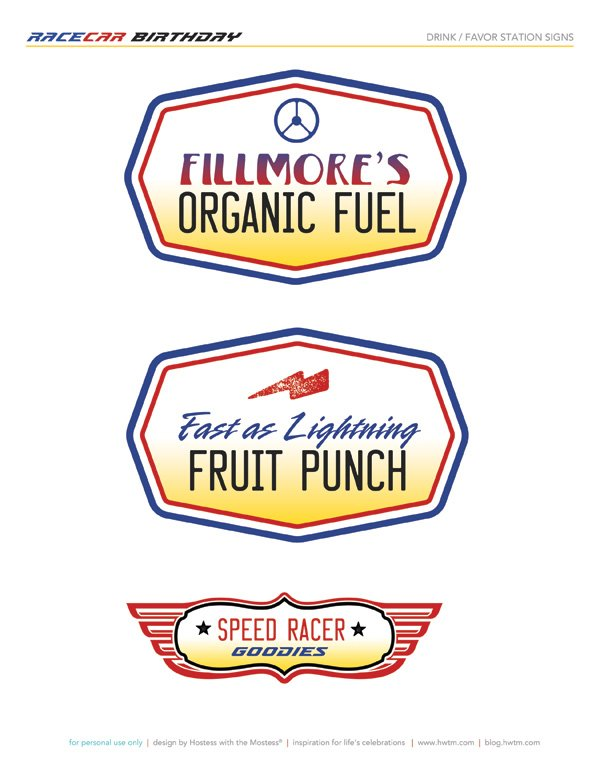 Cars themed drink station labels