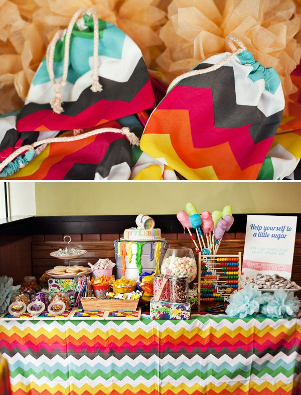 rainbow chevron candy buffet