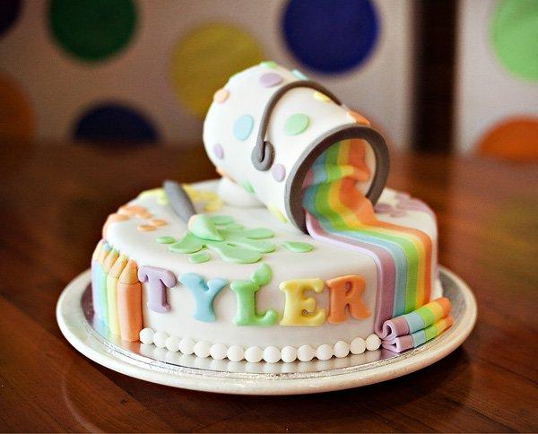 rainbow paint cake