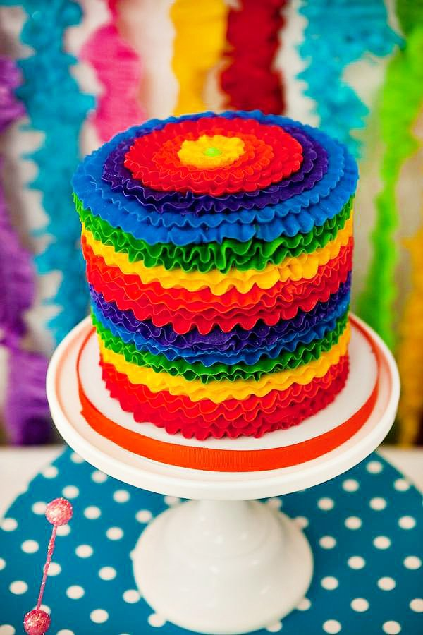 Pretty Rainbow Ruffle Cake