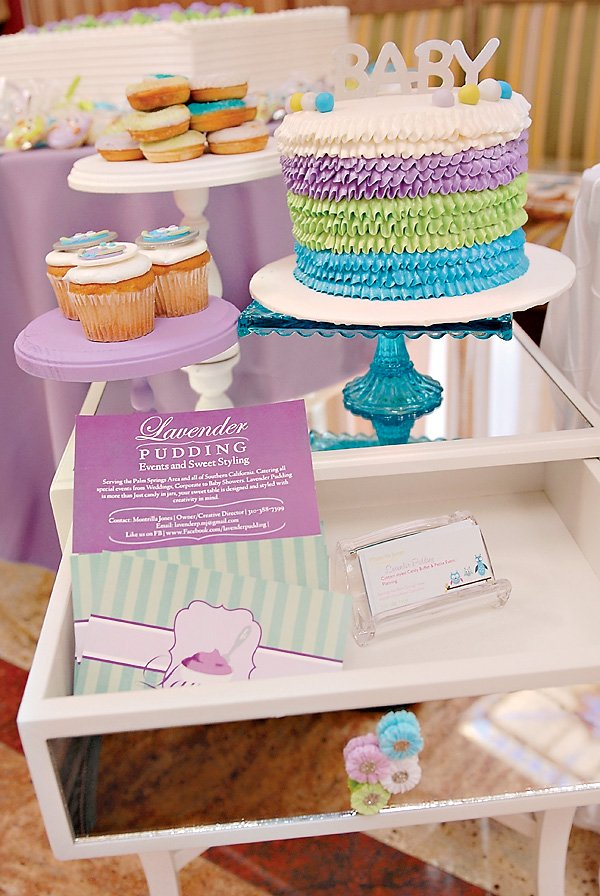 ruffle baby shower cake in purple green and blue