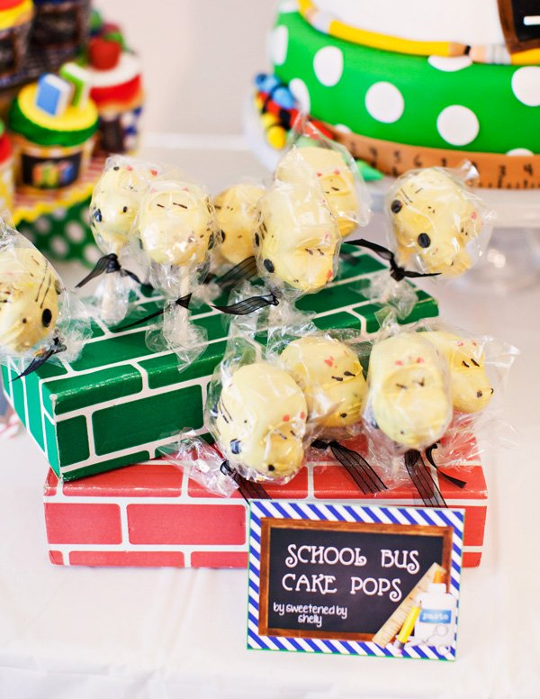 school bus cake pops for a creative back to school event