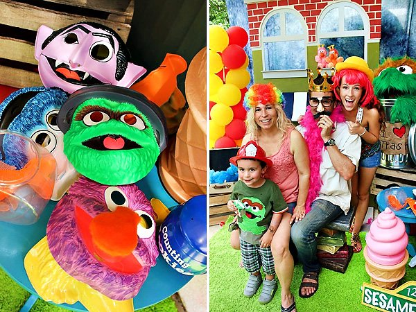 Sesame Street Party Masks and Photo Booth Props