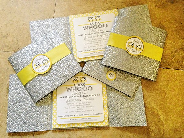 Yellow & Gray Owl Themed Twins Baby Shower // Hostess with ...