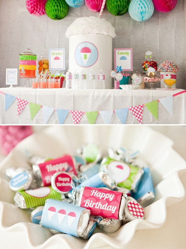 Girly Snow Cone Dessert Table