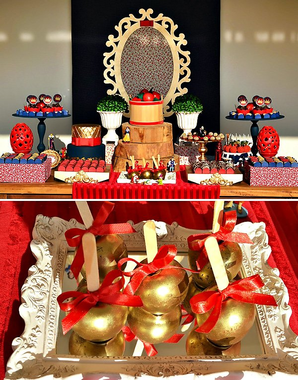 Red amp Gold Snow White Themed Dessert Table Hostess With